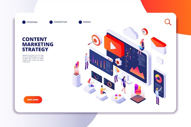 Content marketing landing page. contents creation specialist and article writers. writing service isometric concept Premium Vector