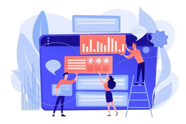 Content marketing manager, specialista, analista lavora sui siti web per il pubblico. content marketing, contenuti di lavoro, concetto di strumento di ottimizzazione seo. pinkish coral bluevector illustrazione isolata Vettore gratuito