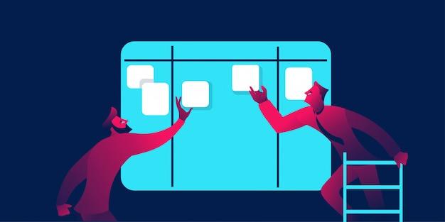 콘텐츠 계획 또는 칸반 보드 사업 배너 프리미엄 벡터