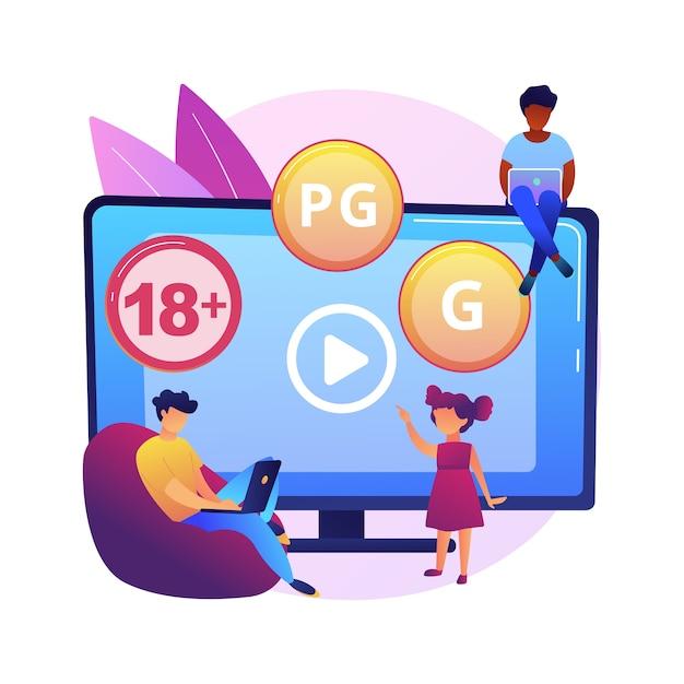 Illustrazione di concetto astratto di valutazione del contenuto. classificazione di media e tv, sistema di classificazione dei contenuti, limiti di età del pubblico, classificazione della censura, giochi e app. Vettore gratuito