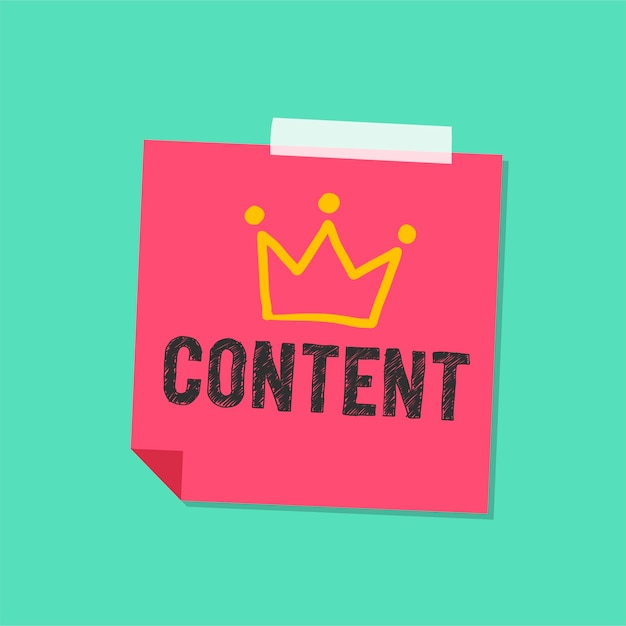 Content word on note illustration Free Vector