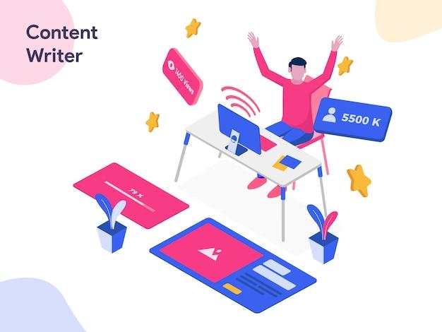 Content writer isometric illustration Premium Vector