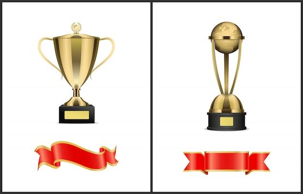 Contest or competition winner award attributes Premium Vector
