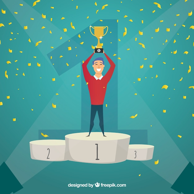 Contest winner background with trophy and confetti Free Vector
