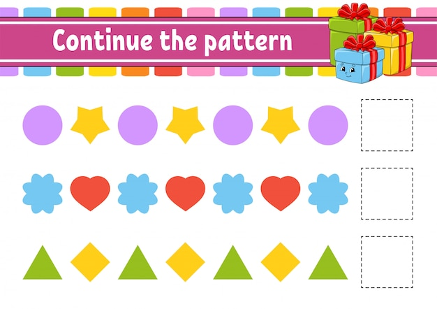 Continue the pattern. education developing worksheet. game for kids. activity page. Premium Vector