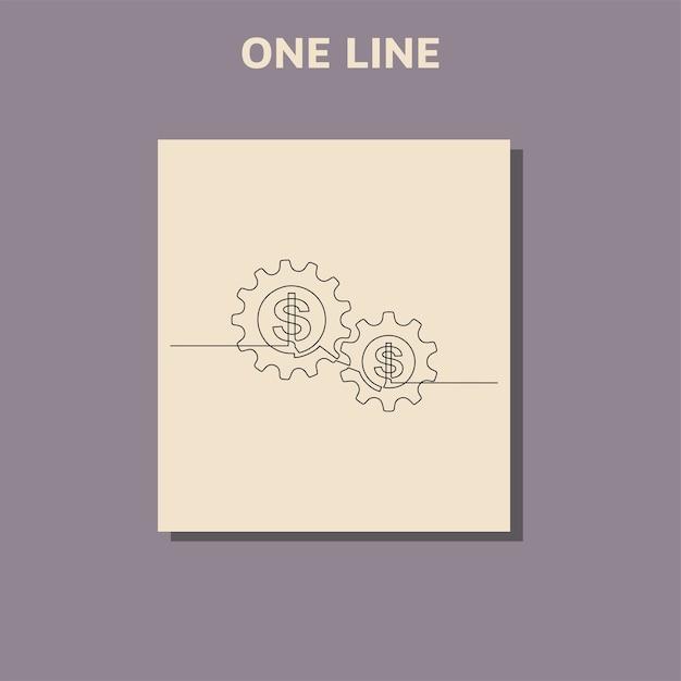 Непрерывный рисунок линии доллара и колеса шестерни Premium векторы