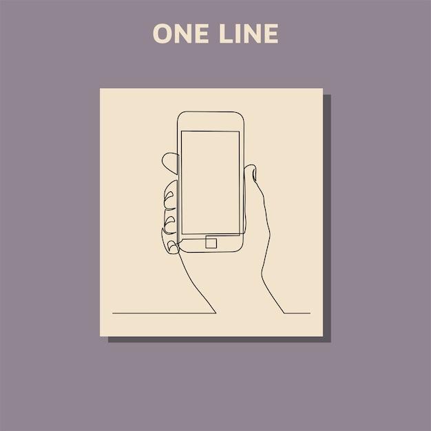 현대 휴대 전화를 들고 손의 연속 선 그리기 프리미엄 벡터