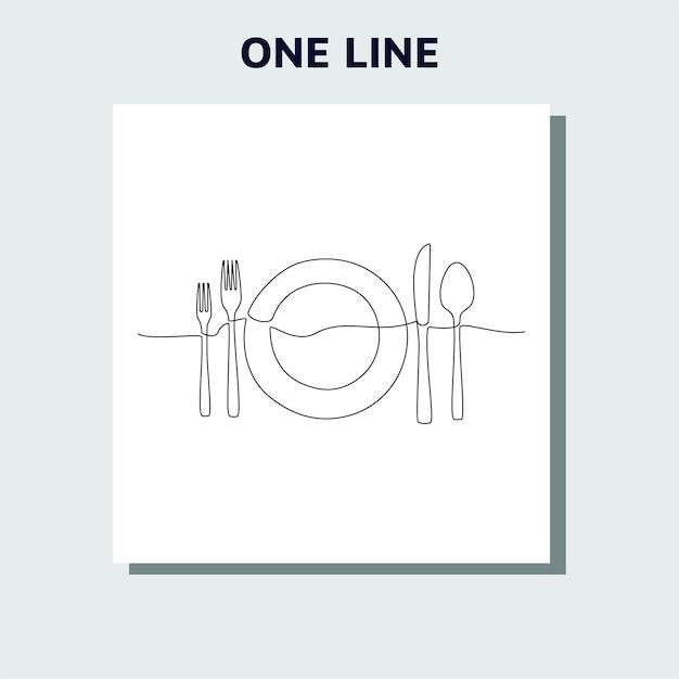 Непрерывный однолинейный рисунок логотипа ресторана Premium векторы