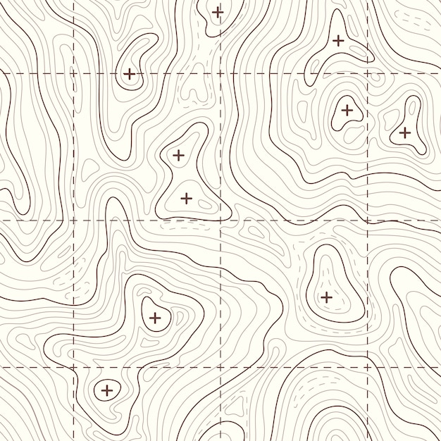 Contour elevation topographic seamless map. landscape map for travel to mountain illustration Premium Vector