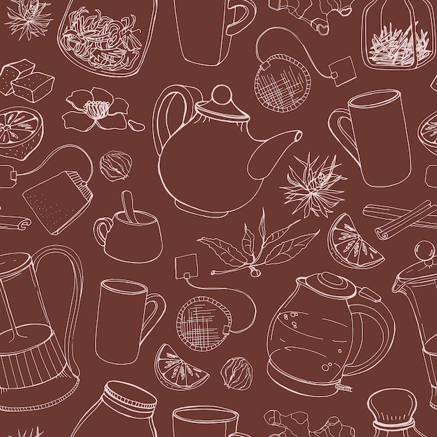 Contour seamless pattern with hand drawn tools for preparing and drinking tea - electric kettle, french press, teapot, cup, mug, sugar, lemon, herbs and spices. illustration for fabric print. Premium Vector