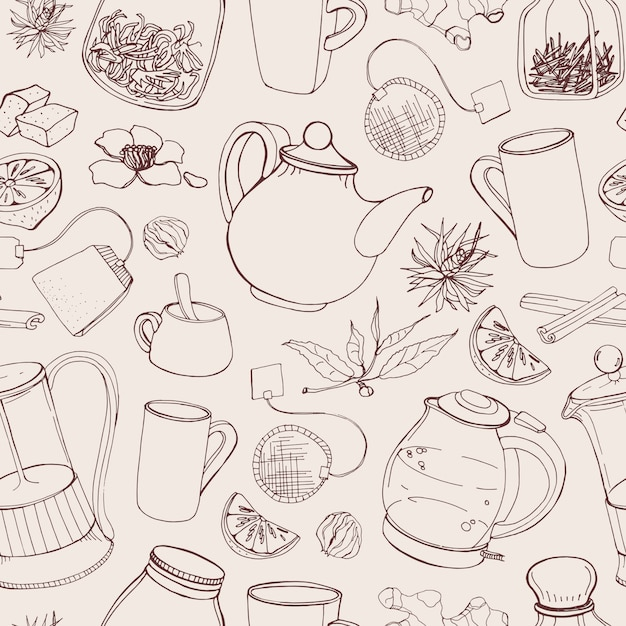 Contour seamless pattern with hand drawn tools for preparing and drinking tea Premium Vector