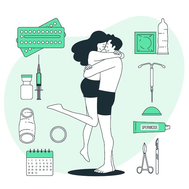 避妊方法の概念図 無料ベクター