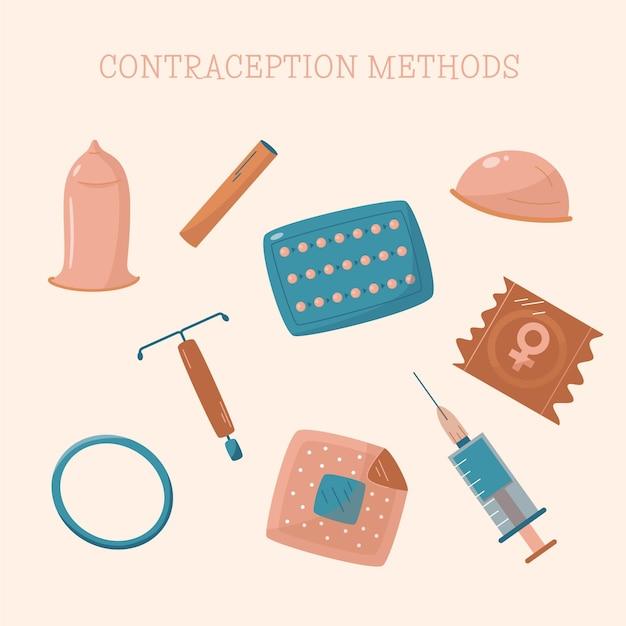 Metodi di contraccezione illustrati Vettore gratuito
