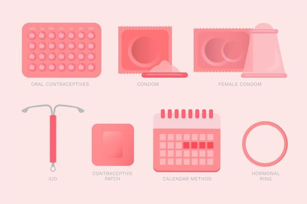 Illustrazione di metodi di contraccezione Vettore gratuito