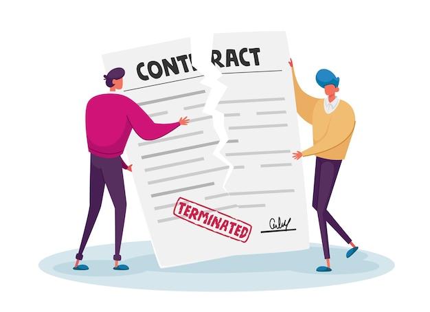契約のキャンセル、契約の終了の概念。 Premiumベクター