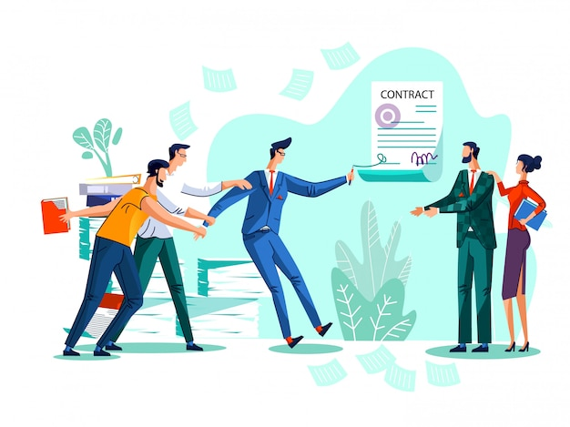 Contract conclusion concept illustration Free Vector