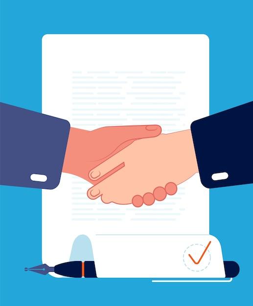 契約ハンドシェイク。ビジネスマンの手は契約企業パートナーシップ金融と投資の概念ベクトルフラットに署名します。イラストハンドシェイク取引、合意とパートナーシップ、ビジネス契約 Premiumベクター