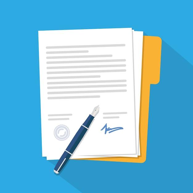 Contract icon agreement Premium Vector