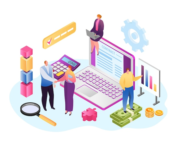 Contract at laptop, isometric business people Premium Vector