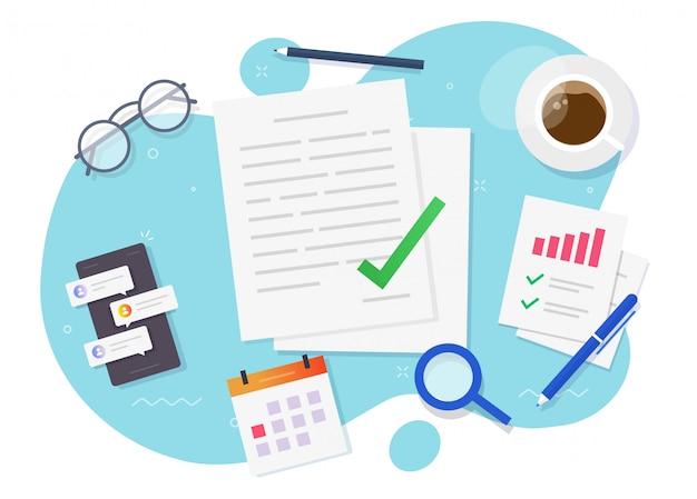 Документ контракта или соглашения, подписанный с успешной сделкой на рабочем столе, столом, плоской планировке, вектор Premium векторы