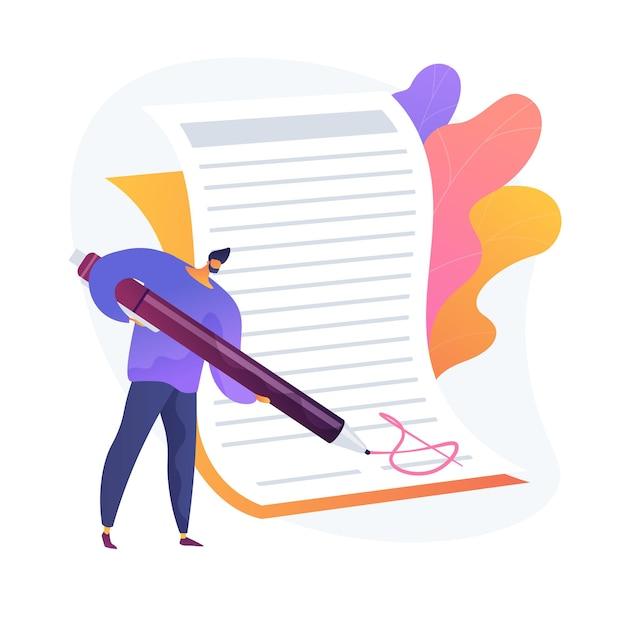 계약 체결. 거래 확인, 공식 문서 서명, 사업 성명서. 서류, 관료 및 형식 아이디어를 하 고 회사원. 무료 벡터