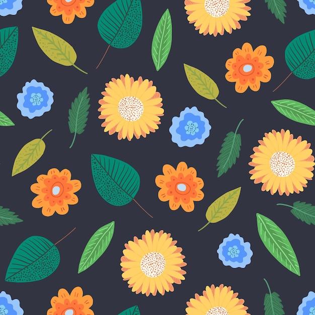 Контрастный цветочный бесшовный узор с нежными мультяшными зелеными листьями и оранжевыми цветами Premium векторы