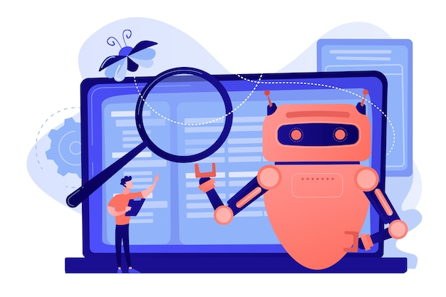 Controller reading regulations to robot. artificial intelligence regulations, limitations in ai development, global tech regulations concept Free Vector