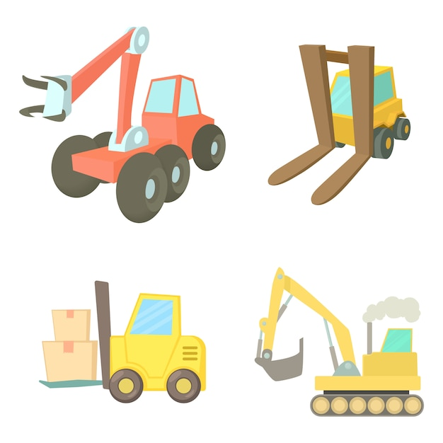 Contruction vehicle icon set Premium Vector