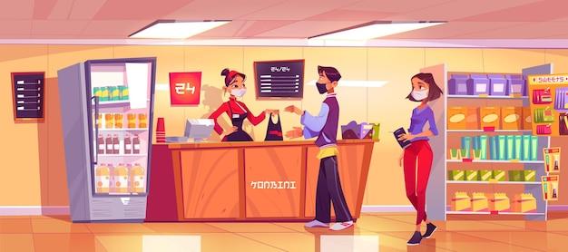 Minimarket con donna venditore al banco e persone in coda. Vettore gratuito