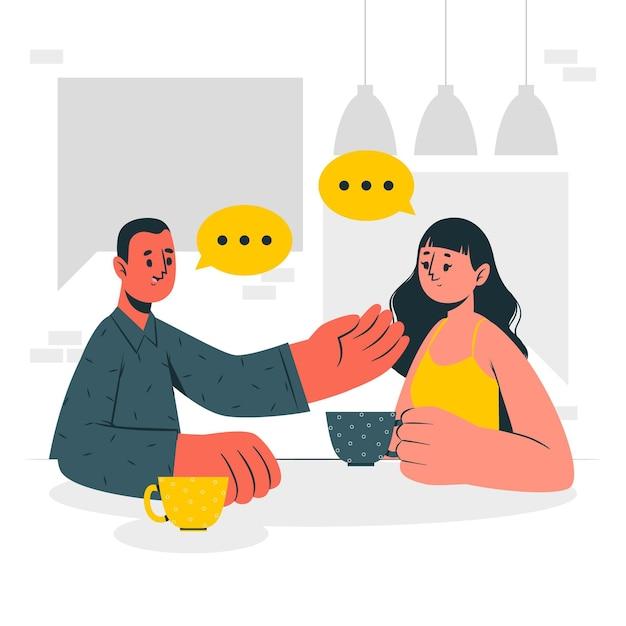Illustrazione del concetto di conversazione Vettore gratuito