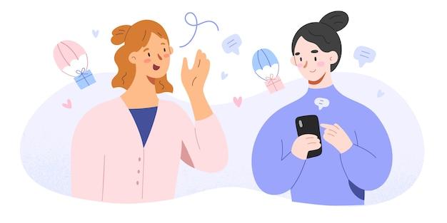 Conversation between two friends illustration Premium Vector