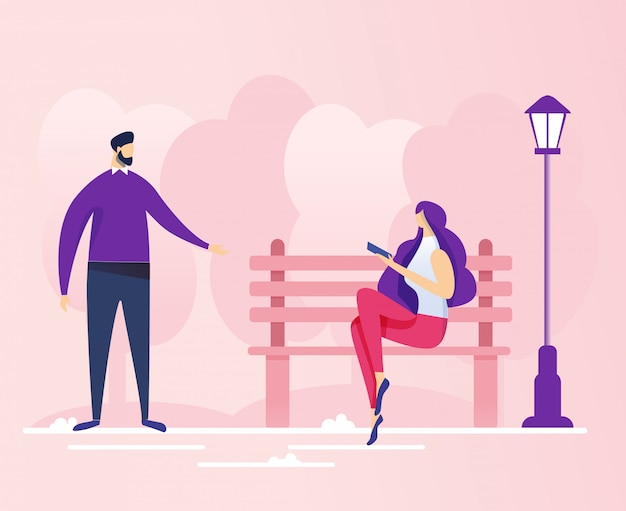 Conversation between young man and woman in park Premium Vector