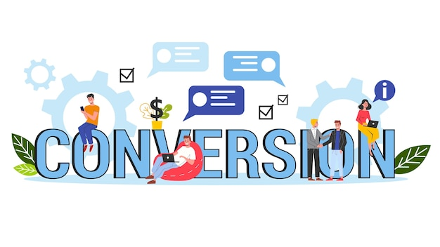 Conversion concept banner . idea of marketing strategy and campaign for customer attraction. customer rate growth.   illustration Premium Vector