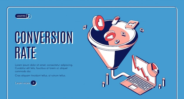 Conversion rate isometric web banner Free Vector
