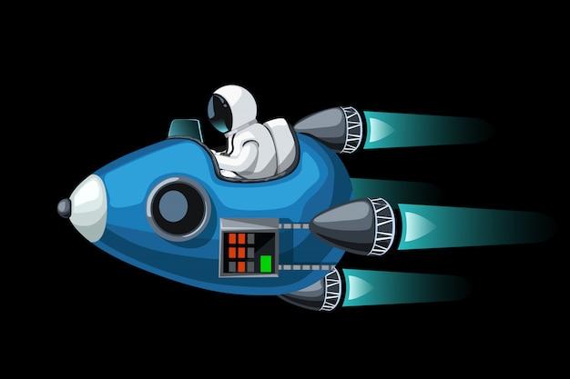 Convertible spaceship on black Premium Vector