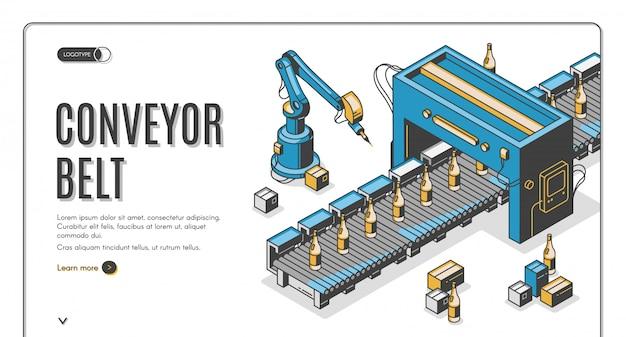 Banner web nastro trasportatore, confezioni mani robot pack Vettore gratuito