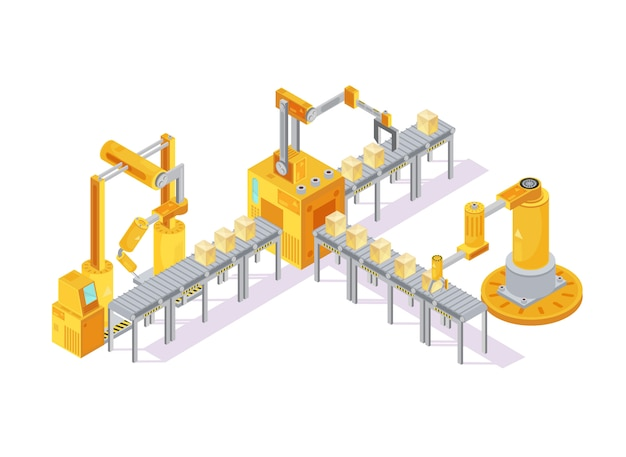 Conveyor equipment isometric composition with robotic hand for welding and boxes Free Vector