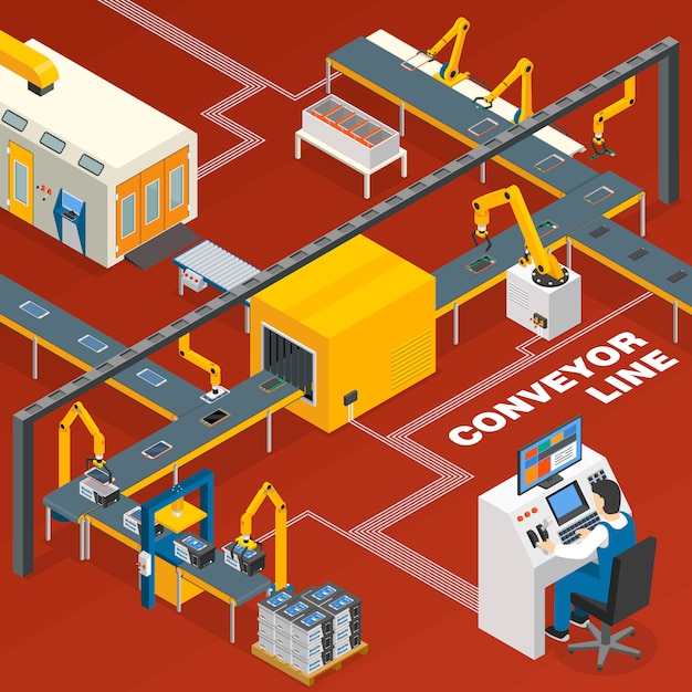 Conveyor line and operator concept Free Vector