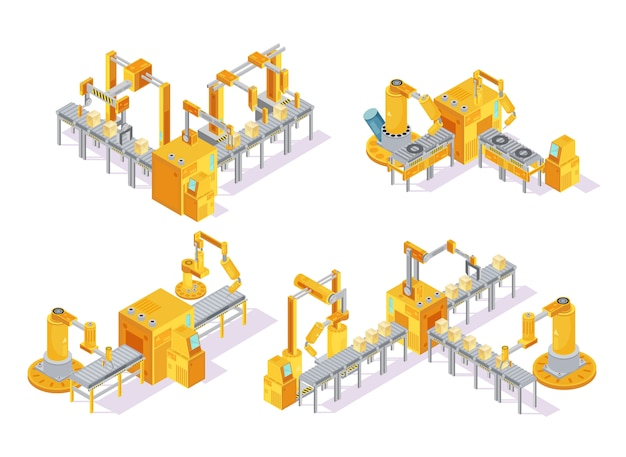 Conveyor system with computer control isometric design concept including production line and packaging isolated vector illustration Free Vector