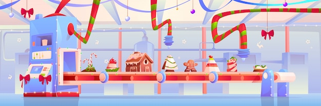 Conveyor with christmas candy and sweet illustration Free Vector