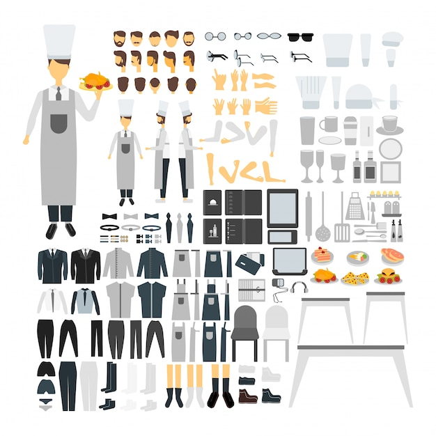 Cook character set for animation with various views, hairstyle, emotion, pose and gesture. Free Vector