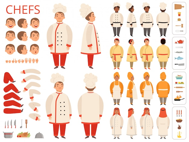 Cook national. asian black arab indian chief body parts various poses and kitchen items  constructor Premium Vector