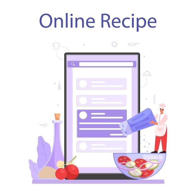 Онлайн-сервис или платформа для повара или кулинара. повар в фартуке делает вкусное блюдо. профессиональный рабочий. интернет-рецепт. отдельные векторные иллюстрации Premium векторы