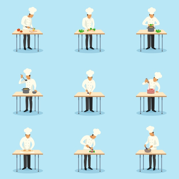 Cook profession character set Free Vector