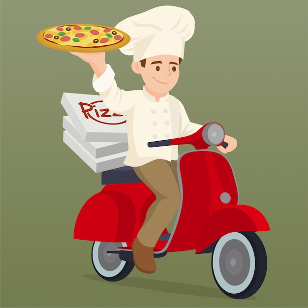 Cook riding a delivery motorbike scooter Premium Vector