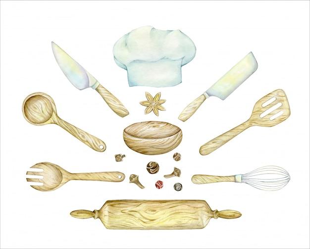Поварская шапка, деревянная, лопаточка, ложка, скалка, нож, венчик. акварель набор кухонных предметов. Premium векторы