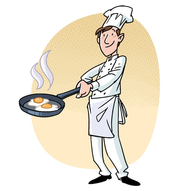 Cook with a pan with eggs Premium Vector