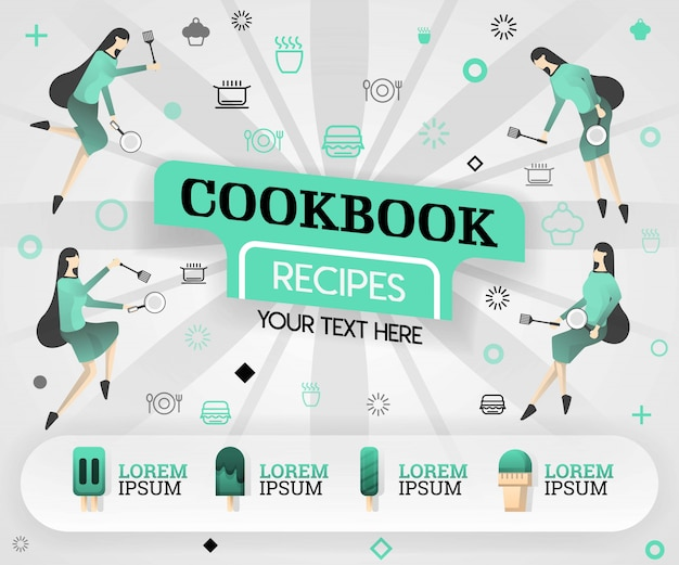 Cookbook simple book and green recipes Premium Vector