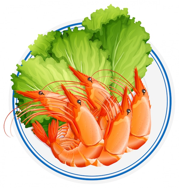 Cooked shrimps and vegetable on plate Free Vector