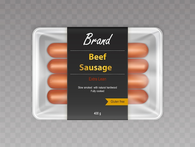 Cooked with slow smoking on natural hardwood beef sausages in sealed container Free Vector